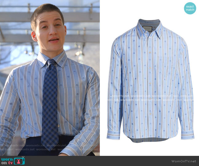 Bee Stripe Fil Coupé Cotton Shirt by Gucci worn by Theo Germaine on The Politician