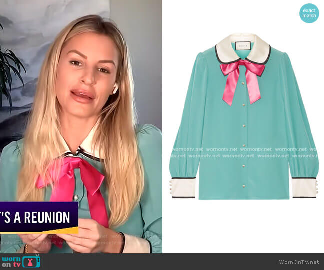 Bow-Embellished Satin-Trimmed Blouse by Gucci worn by Morgan Stewart  on E! News