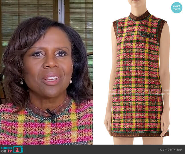 Candy Sleeveless Tweed Mini Dress by Gucci worn by Deborah Roberts  on Good Morning America