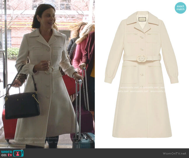 Interlocking G belted Coat by Gucci worn by Cassandra Nightingale (Catherine Bell) on Good Witch