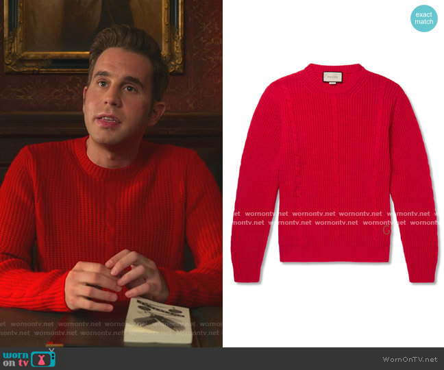 Logo-Embroidered Cable-Knit Wool-Blend Sweater by Gucci worn by Payton Hobart (Ben Platt) on The Politician