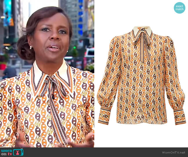 Neck-Tie Chain-Print Silk Blouse by Gucci worn by Deborah Roberts  on Good Morning America