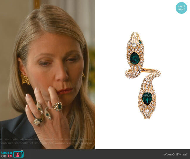 Double Headed Snake Ring by Gucci worn by Georgina Hobart (Gwyneth Paltrow) on The Politician
