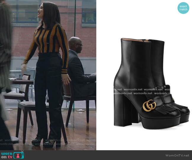 Leather Ankle Boot with Plateau and Fringe by Gucci worn by Jane Sloan (Katie Stevens) on The Bold Type