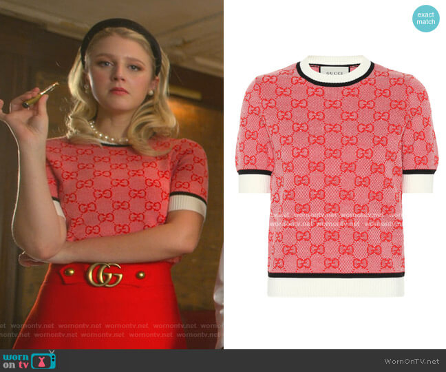 Knit GG Sweater by Gucci worn by Alice (Julia Schlaepfer) on The Politician
