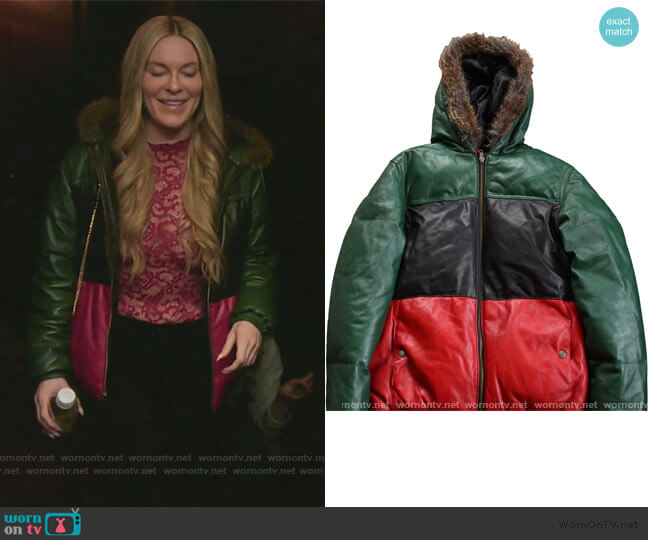 Gucci Colab Leather Jacket by Supreme worn by Leah McSweeney  on The Real Housewives of New York City