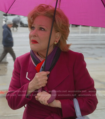 Hadassah's pink wrap coat on The Politician