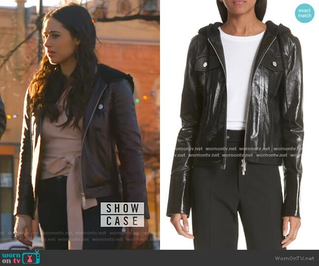 Hooded Leather Jacket by Helmut Lang worn by Liz Ortecho (Jeanine Mason) on Roswell New Mexico
