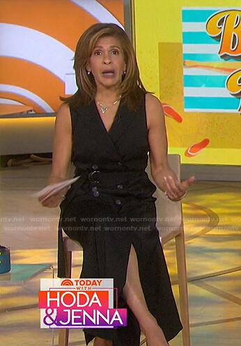 Hoda's black belted sleeveless maxi dress on Today