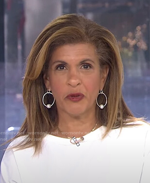 Hoda's pearl double hoop earrings on Today