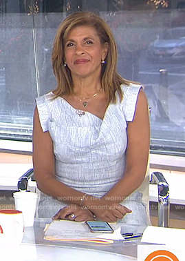 Hoda's white asymmetric neck dress on Today