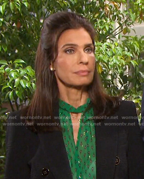 Hope's green keyhole blouse and black blazer on Days of our Lives