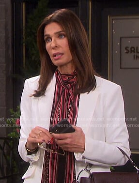 Hope's white zip-cuff blazer on Days of our Lives