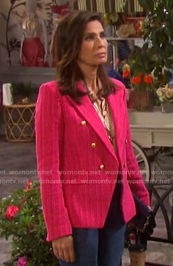 Hope's belt print blouse and pink blazer on Days of our Lives