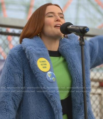 Invinity's green colorblock sweater on The Politician