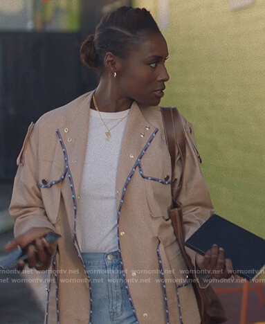 Issa's beige embroidered trim coat on Insecure