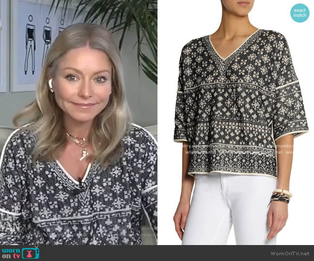 Bela Intarsia-Knit Cotton-Blend Top by Isabel Marant Etoile worn by Kelly Ripa  on Live with Kelly & Ryan