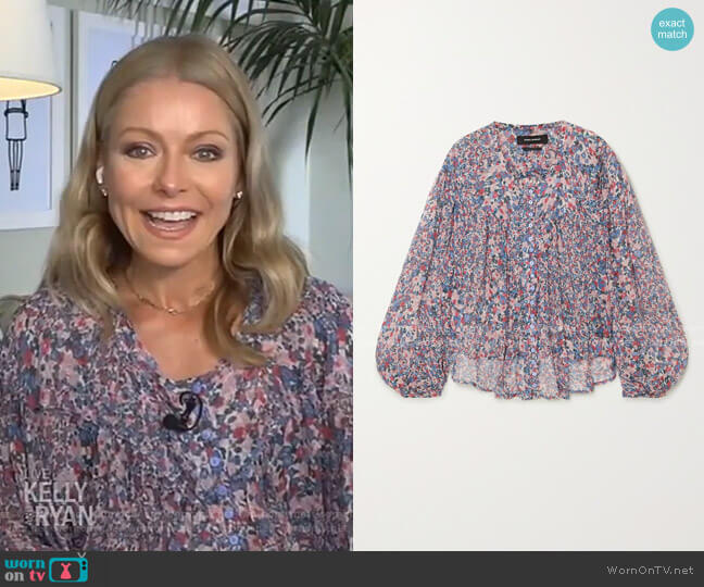 Orionea Blouse by Isabel Marant worn by Kelly Ripa  on Live with Kelly & Ryan