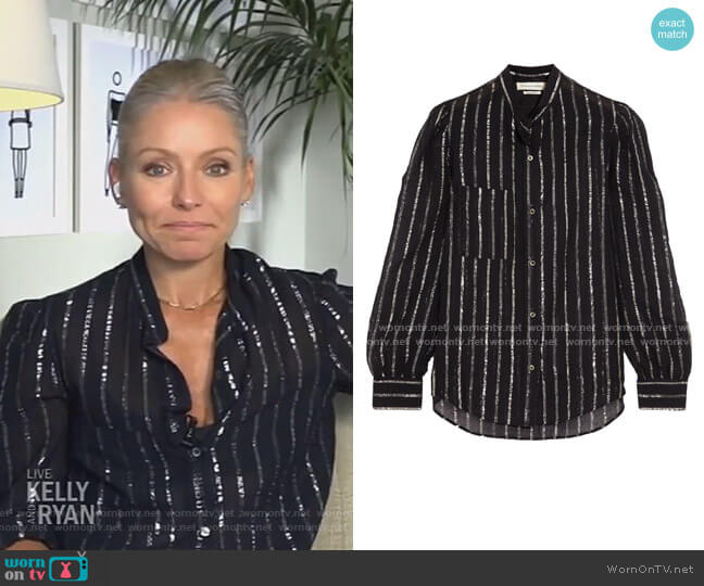 Samson Metallic-Trimmed Blouse by Étoile Isabel Marant worn by Kelly Ripa  on Live with Kelly & Ryan