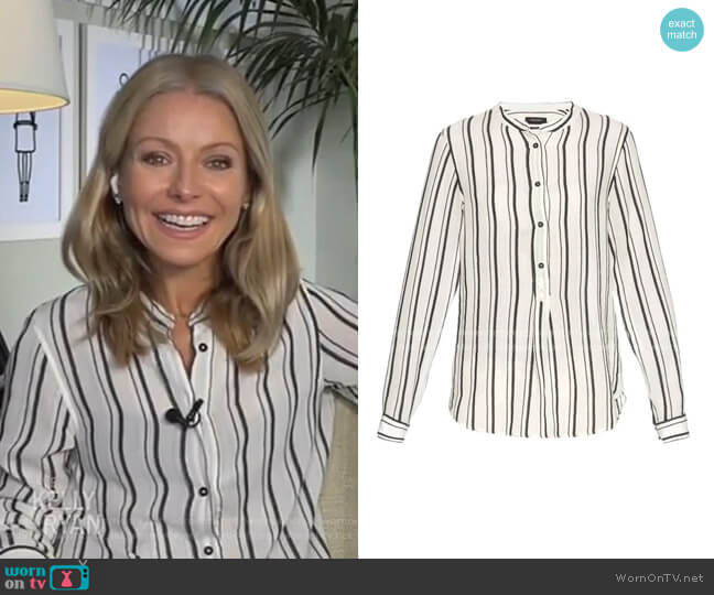 Udena Stirped Shirt by Isabel Marant worn by Kelly Ripa  on Live with Kelly & Ryan