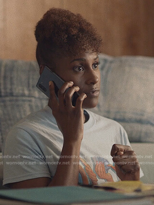 Issa's blue money tee on Insecure