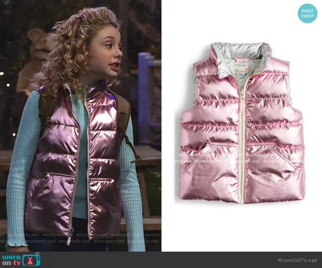 PrimaLoft Metallic Quilted Puffer Vest by Crewcuts by J.Crew worn by Destiny Baker (Mallory James Mahoney) on Bunkd