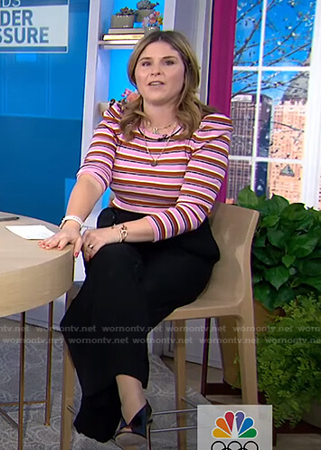 Jenna's pink striped puff sleeve top on Today