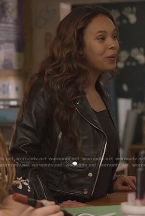 Jessica's black leather moto jacket on 13 Reasons Why