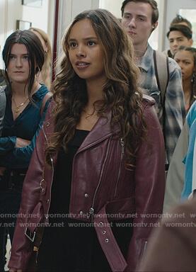 Jessica's burgundy leather moto jacket on 13 Reasons Why