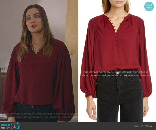 Addalla Crepe Poet Blouse by Joie worn by Joy Harper (Katherine Barrell) on Good Witch