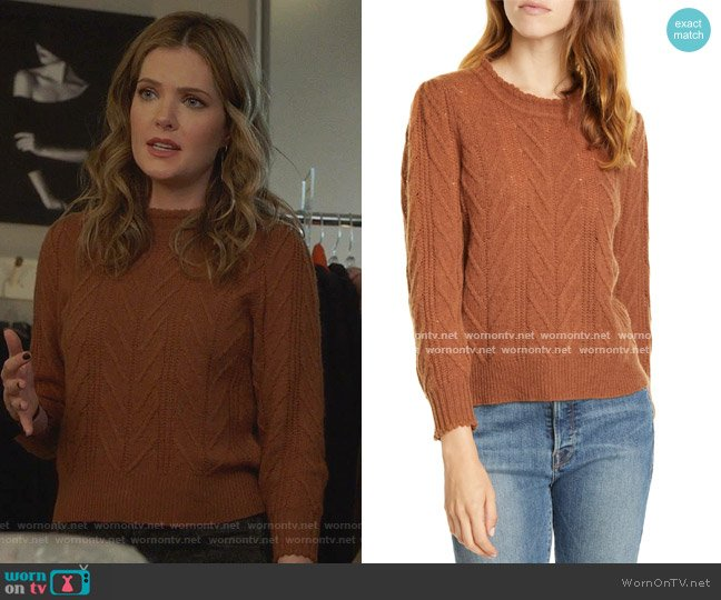 Tenzin Sweater by Joie worn by Sutton (Meghann Fahy) on The Bold Type