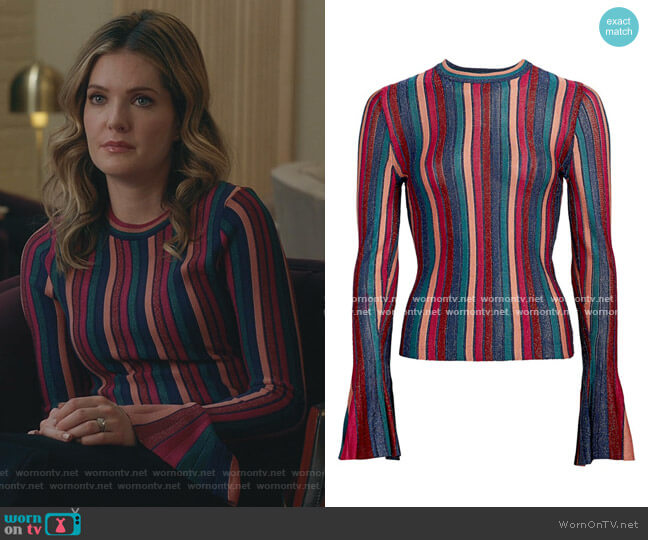 Metallic Stripe Bell-Sleeve Top by Jonathan Simkhai worn by Sutton (Meghann Fahy) on The Bold Type