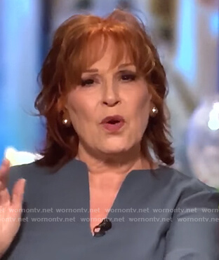 Joy's gray split neck blouse on The View
