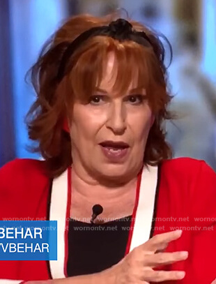 Joy's red and white cardigan on The View