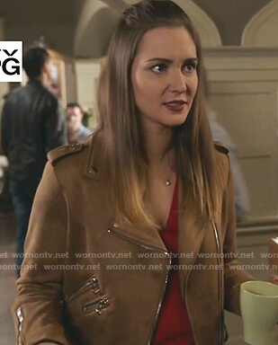 Joy's brown suede moto jacket on Good Witch