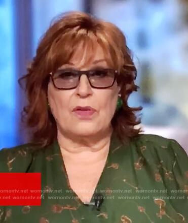 Joy's green key print wrap blouse on The View