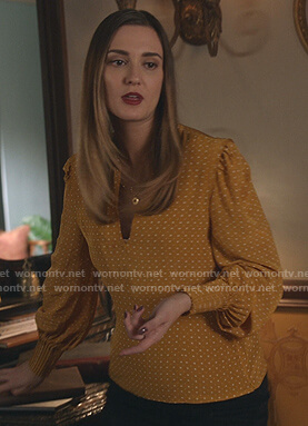 Joy's yellow dotted v-neck blouse on Good Witch