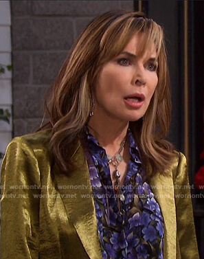 Kate's purple floral blouse on Days of our Lives