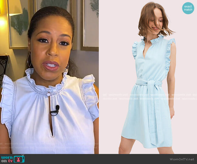 Denim Ruffle Dress by Kate Spade worn by Sheinelle Jones  on Today