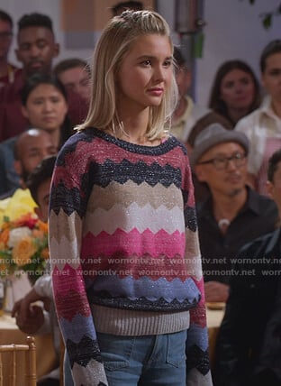 Katie's metallic zig zag sweater on Alexa & Katie