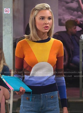 Katie's sun sweater and wide-leg jeans on Alexa & Katie