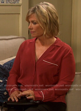 Kayla's red shirt with white piping on Days of our Lives