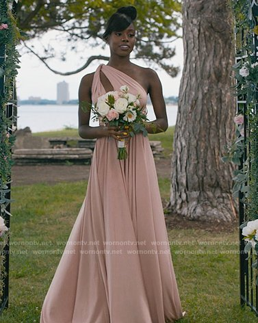 Kiesha's pink twisted one shoulder dress on The Chi