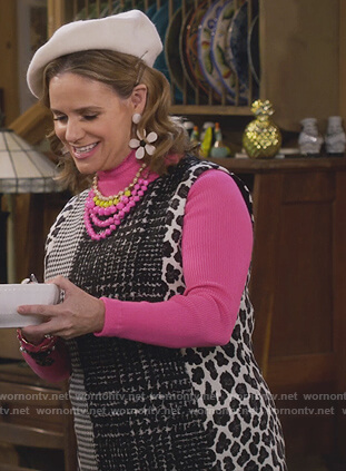 Kimmy's mixed tweed dress and pink turtleneck on Fuller House
