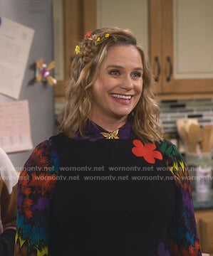 Kimmy's multicolor feather print blouse on Fuller House