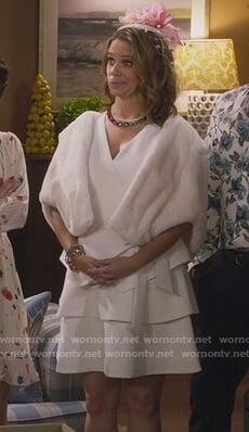 Kimmy's white tiered tie waist dress on Fuller House