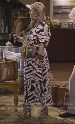 Kimmy's zebra print shirtdress on Fuller House