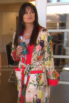 Kyle's bird print robe and pants on The Real Housewives of Beverly Hills