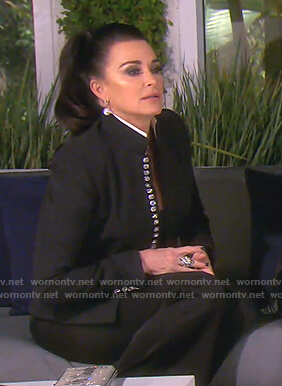 Kyle's black jewel button jacket on The Real Housewives of Beverly Hills