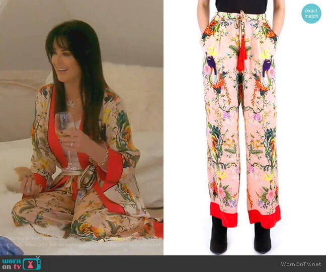 Rhobh Kyle Silk Pant In Bird Print by  Kyle x Shahida worn by Kyle Richards  on The Real Housewives of Beverly Hills